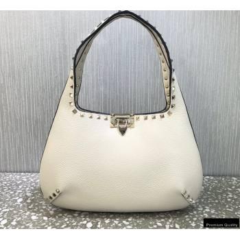 Valentino Small Rockstud Grainy Calfskin Hobo Bag White 2021 (liankafo-21012912)