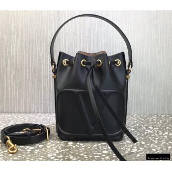 Valentino VLogo Walk Calfskin Bucket Bag Black 2021 (liankafo-21012901)