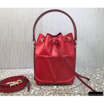 Valentino VLogo Walk Calfskin Bucket Bag Red 2021 (liankafo-21012903)