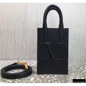 Valentino Mini VLogo Walk Calfskin Tote Bag Black 2021 (liankafo-21012905)