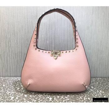 Valentino Small Rockstud Grainy Calfskin Hobo Bag Pink 2021 (liankafo-21012911)