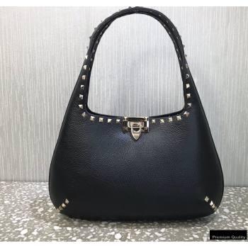 Valentino Small Rockstud Grainy Calfskin Hobo Bag Black 2021 (liankafo-21012909)