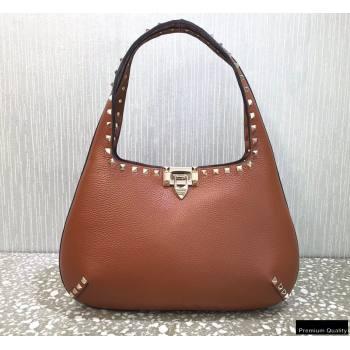 Valentino Small Rockstud Grainy Calfskin Hobo Bag Brown 2021 (liankafo-21012910)