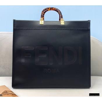 Fendi Leather Sunshine Large Shopper Tote Bag Black 2021 (chaoliu-21013001)