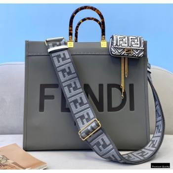 Fendi Leather Sunshine Large Shopper Tote Bag Gray 2021 (chaoliu-21013002)