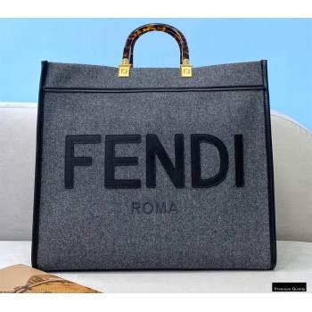 Fendi Gray Flannel Sunshine Large Shopper Tote Bag 2021 (chaoliu-21013003)