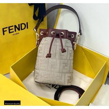 Fendi Mon Tresor Mini Bucket Bag FF Embroidered Canvas Burgundy 2021 (chaoliu-21020103)