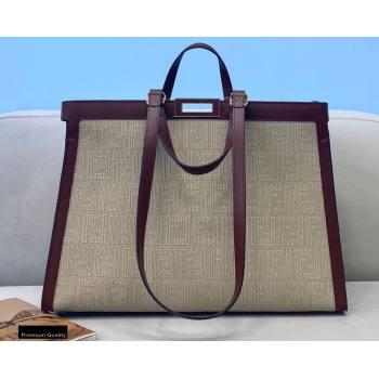 Fendi Medium Peekaboo X-Tote Shopper Bag FF Embroidered Canvas Burgundy 2021 (chaoliu-21020101)