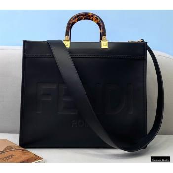 Fendi Leather Sunshine Medium Shopper Tote Bag Black 2021 (chaoliu-21013004)