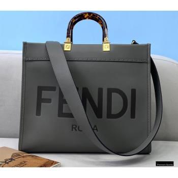 Fendi Leather Sunshine Medium Shopper Tote Bag Gray 2021 (chaoliu-21013006)