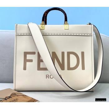 Fendi Leather Sunshine Medium Shopper Tote Bag White 2021 (chaoliu-21013008)
