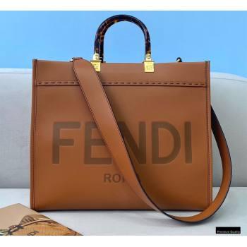 Fendi Leather Sunshine Medium Shopper Tote Bag Brown 2021 (chaoliu-21013005)