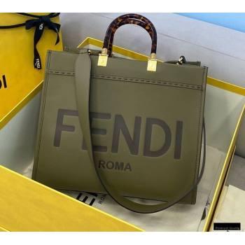 Fendi Leather Sunshine Medium Shopper Tote Bag Dark Green 2021 (chaoliu-21013007)