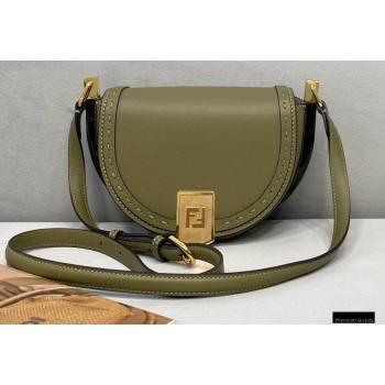 Fendi Leather Moonlight Shoulder Bag Dark Green 2021 (chaoliu-21013014)