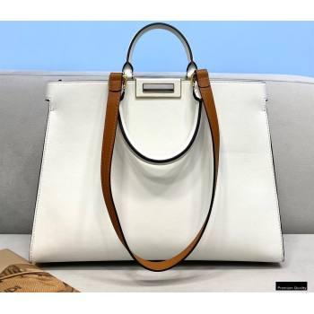 Fendi Leather Small Peekaboo X-Tote Shopper Bag White 2021 (chaoliu-21013011)
