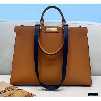 Fendi Leather Small Peekaboo X-Tote Shopper Bag Brown 2021 (chaoliu-21013010)