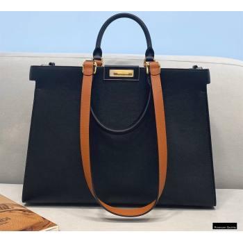 Fendi Leather Small Peekaboo X-Tote Shopper Bag Black 2021 (chaoliu-21013009)