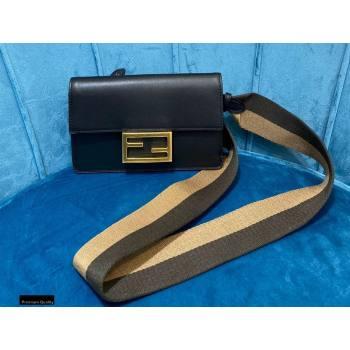 Fendi Flat Baguette Mini Bag Black with Detachable Shoulder Strap 2021 (chaoliu-21020110)
