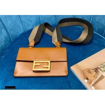 Fendi Flat Baguette Mini Bag Brown with Detachable Shoulder Strap 2021 (chaoliu-21020111)
