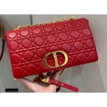 Dior Large Caro Bag in Soft Cannage Calfskin Red 2021 (vivi-21022016)