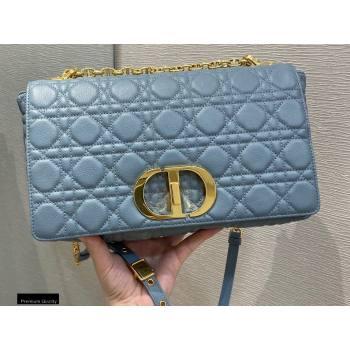 Dior Large Caro Bag in Soft Cannage Calfskin Cloud Blue 2021 (vivi-21022017)