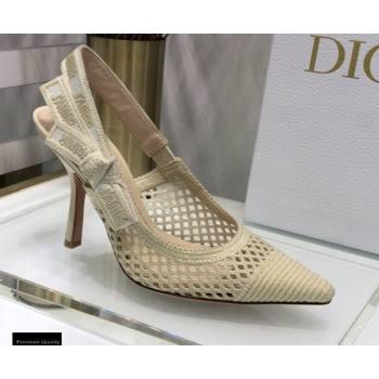 Dior Heel 9.5cm JAdior Slingback Pumps Mesh Embroidery Creamy 2021 (jincheng-21022561)