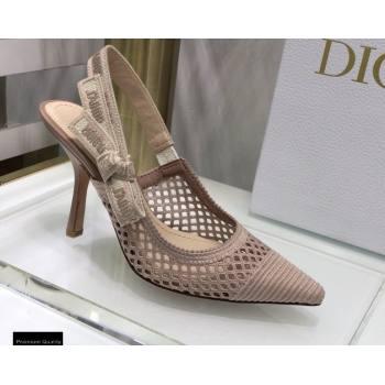 Dior Heel 9.5cm JAdior Slingback Pumps Mesh Embroidery Nude 2021 (jincheng-21022564)