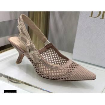 Dior Heel 6.5cm JAdior Slingback Pumps Mesh Embroidery Nude 2021 (jincheng-21022565)
