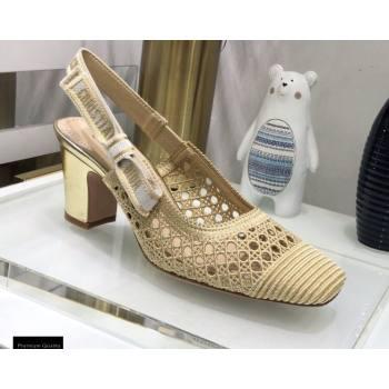 Dior Heel 7cm Moi Slingback Pumps Cannage Embroidered Mesh Beige 2021 (jincheng-21022552)