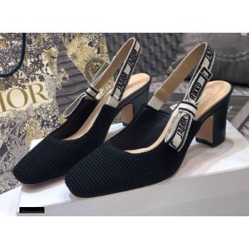 Dior Heel 7cm Moi JAdior Embroidered Cotton Slingback Pumps Black 2021 (jincheng-21022532)