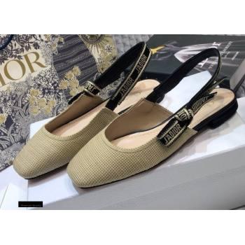 Dior Heel 1.5cm Moi JAdior Embroidered Slingback Ballerina Flats Beige 2021 (jincheng-21022531)