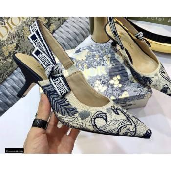 Dior Heel 6.5cm JAdior Slingback Pumps Flamingo Embroidered 2021 (jincheng-21022517)