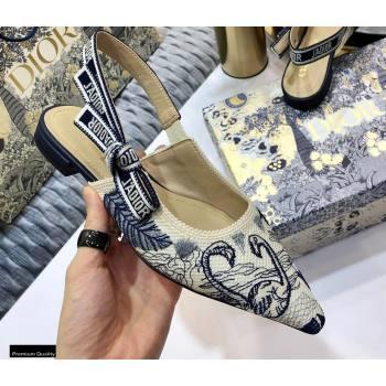 Dior JAdior Slingback Ballet Flats Flamingo Embroidered 2021 (jincheng-21022518)
