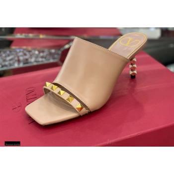Valentino Sculpted Heel 6.5cm Rockstud Slide Sandals Nude 2021 (modeng-21030353)