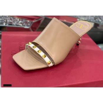 Valentino Sculpted Heel 6.5cm Rockstud Slide Sandals Nude/White 2021 (modeng-21030355)