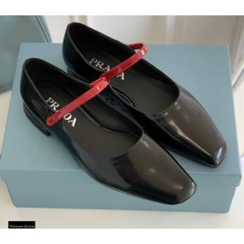 Prada Brushed Leather Mary Jane Flats Black 2021 (nono-21030410)