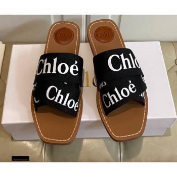 Chloe Logo Print Woody Flat Mules in Canvas 07 2021 (modeng-21030485)