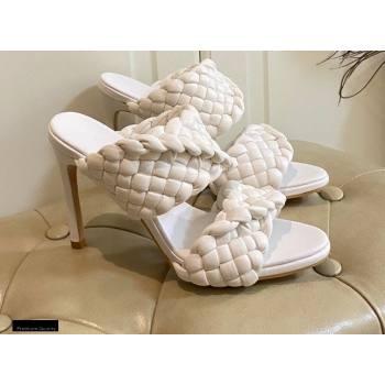 Bottega Veneta Heel 11cm The Curve Mules Sandals White with Twisted Intrecciato Leather Straps 2021 (modeng-21030303)