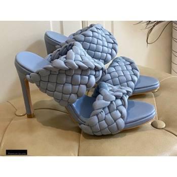 Bottega Veneta Heel 11cm The Curve Mules Sandals Sky Blue with Twisted Intrecciato Leather Straps 2021 (modeng-21030305)