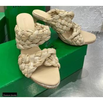 Bottega Veneta The Curve Mules Sandals Nude with Twisted Intrecciato Raffia Straps 2021 (modeng-21030306)