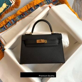 Hermes Mini Kelly II Handbag epsom leather with Gold Hardware half handmade black (fuli-8971)