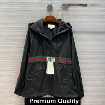 gucci Cotton canvas windbreaker with Gucci label 594861 black 2020 (qiqi-6027)
