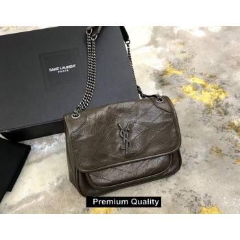 Saint Laurent Niki Baby Bag in Vintage Leather 533037 elephant gray (yida-9141)