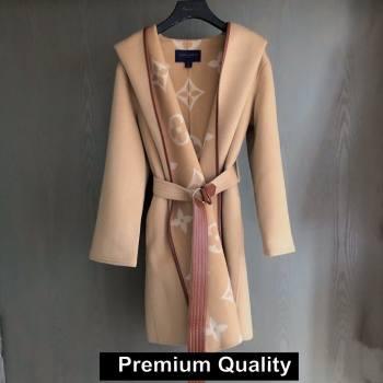 louis vuitton hooded wrap cashmere coat with belt 1A82GP BEIGE 2020 (QIQI-20206918)