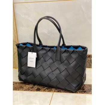 Bottega Veneta Intrecciato Nappa arco tote bag black/blue 2021 (misu-210226-05)