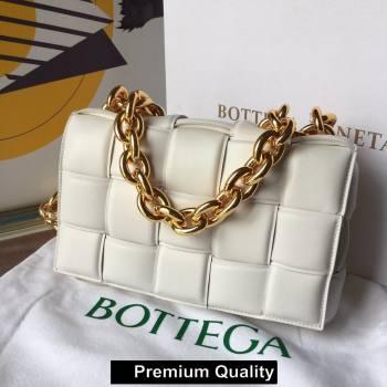 Bottega Veneta THE CHAIN CASSETTE shoulder bag off white/gold 2020 (wante-2367)