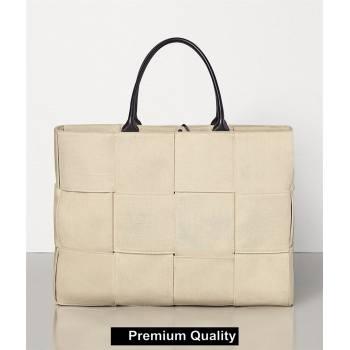 Bottega Veneta white canvas ARCO TOTE bag 2020 (wante-6127)