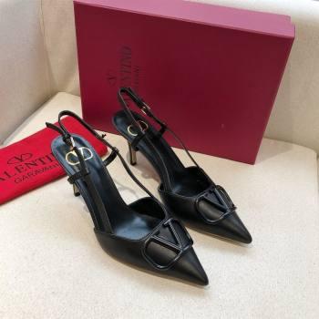 Valentino Heel 7cm VLOGO Calfskin Slingback Pumps black 2020 (modeng-210305-06)