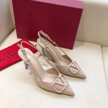 Valentino Heel 7cm VLOGO Calfskin Slingback Pumps NUDE 2020 (modeng-210305-07)