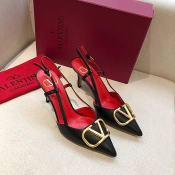 Valentino Heel 7cm VLOGO Calfskin Slingback Pumps BLACK/RED 2020 (modeng-210305-10)